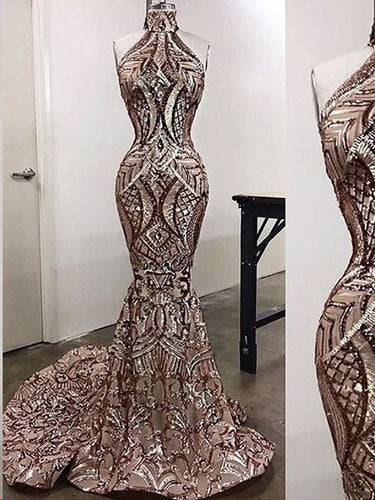 Luxury Prom Dresses High Neck Sweep Train Mermaid Long Prom Dress JKL803|Annapromdress