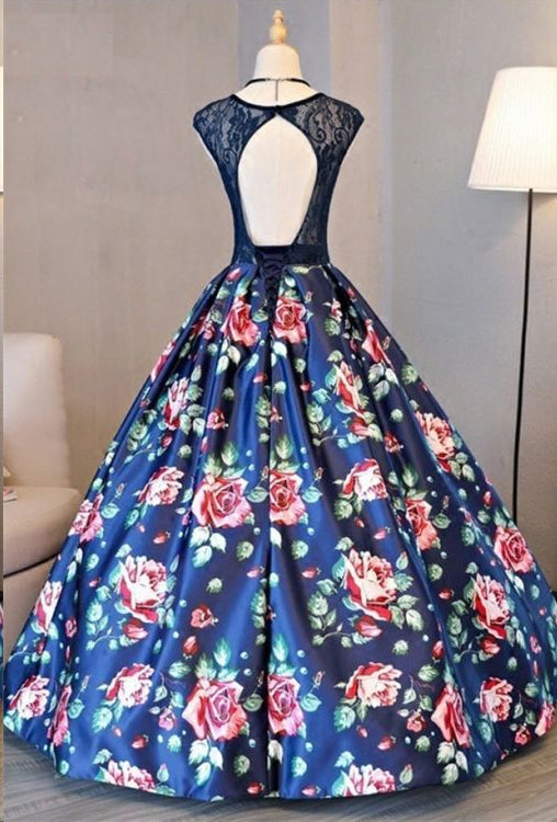 Ball Gown Prom Dresses Scoop Lace Floral Print Floor-length Chic ...