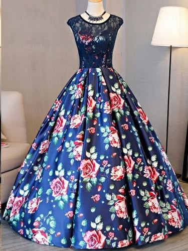 Ball Gown Prom Dresses Scoop Lace Floral Print Floor-length Chic Prom Dress JKL805|Annapromdress