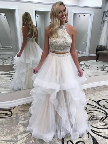 Two Piece Prom Dresses High Neck A-line Rhinestone Long Prom Dress JKL809|Annapromdress