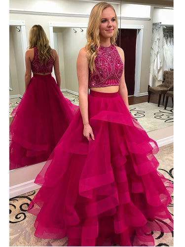 Two Piece Prom Dresses Scoop Beading Sexy Rhinestone Long Chic Prom Dress JKL812|Annapromdress