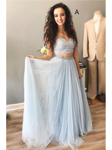 Two Piece Prom Dresses Spaghetti Straps Sexy Lace Long A Line Prom Dress JKL813|Annapromdress