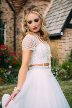 Two Piece Prom Dresses V-neck Floor-length Sexy Long Beading Ivory Prom Dress JKL814|Annapromdress