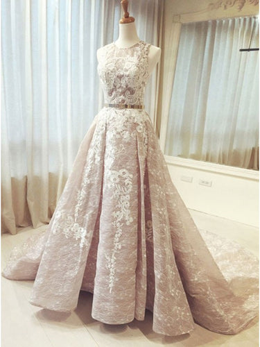 Luxury Prom Dresses Scoop Ball Gown Lace Prom Dress Long Evening Dress JKL815|Annapromdress