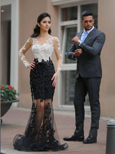 Mermaid Prom Dresses Scoop Appliques Sexy Black Prom Dress Long Evening Dress JKL817|Annapromdress