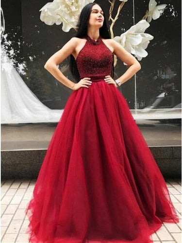 Burgundy Prom Dresses Halter Beading Floor-length A Line Long Prom Dress JKL818|Annapromdress