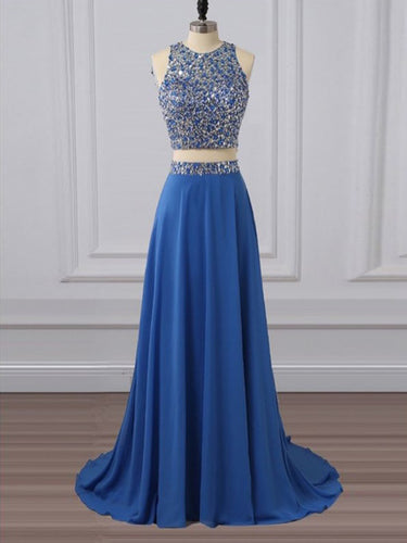 Two Piece Prom Dresses Scoop Sweep Train A Line Rhinestone Long Prom Dress JKL819|Annapromdress