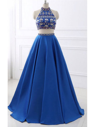 Two Piece Prom Dresses High Neck Rhinestone Satin Long Prom Dress JKL820|Annapromdress