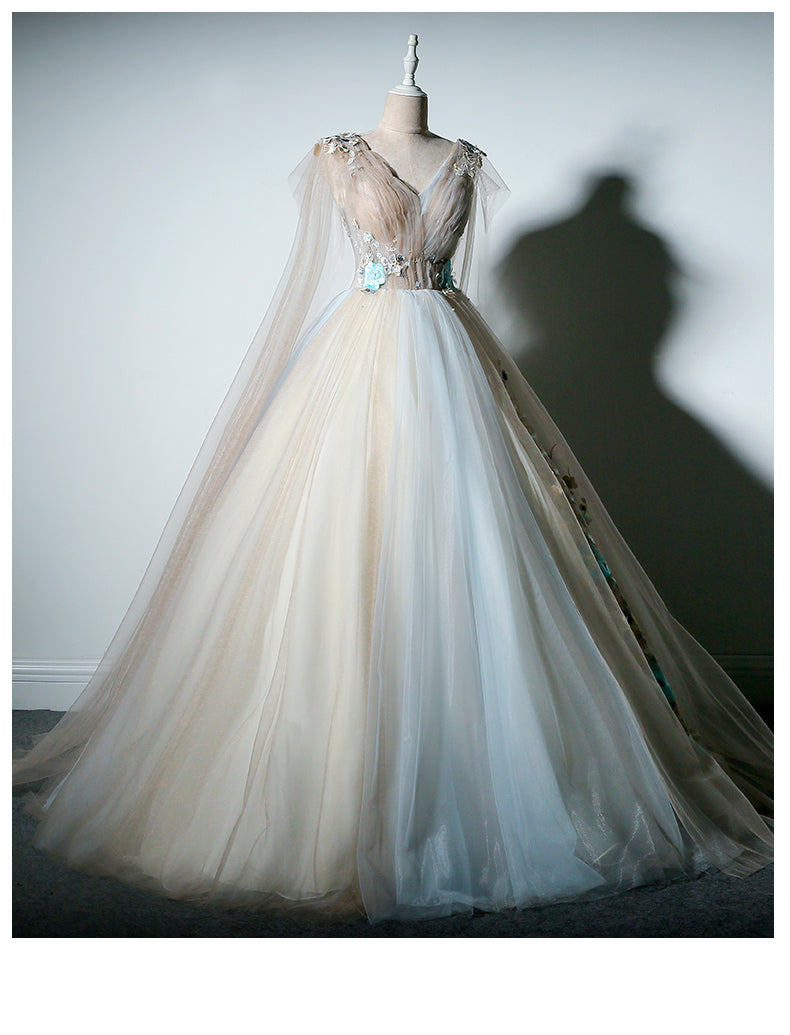 Ball Gown Prom Dresses V-neck Appliques Fairy Dress Long Prom ...