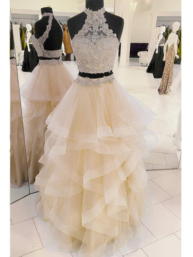 Two Piece Prom Dresses Halter A line Sexy Long Beautiful Prom Dress JKL823|Annapromdress
