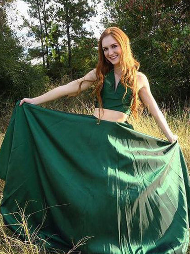 Two Piece Prom Dresses Halter Dark Green Sexy Simple Long Prom Dress JKL824|Annapromdress