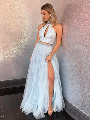 Two Piece Prom Dresses High Neck Sequins Rhinestone Long Slit Chic Prom Dress JKL825|Annapromdress