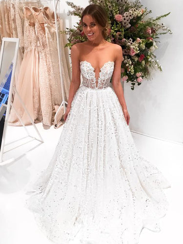 Sparkly Prom Dresses Bateau A-line Sweep Train Sexy Long Chic Lace Prom Dress JKL828|Annapromdress