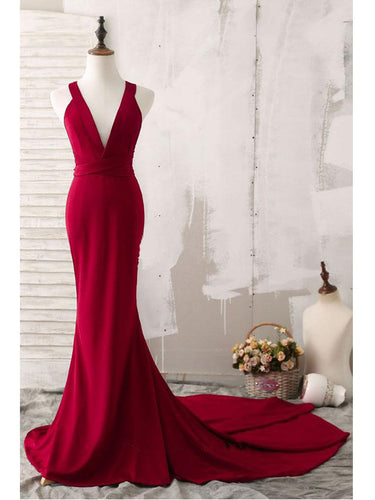 Burgundy Prom Dresses Trumpet/Mermaid V-neck Sexy Prom Dress Long Evening Dress JKL831|Annapromdress