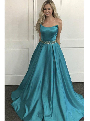 Chic Prom Dresses Strapless Floor-length Long A-line Sparkly Prom Dress JKL832|Annapromdress