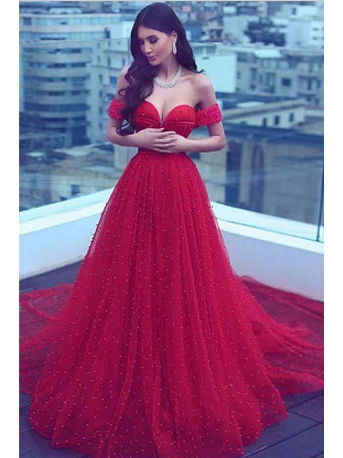 Luxury Prom Dresses Sweetheart Beading Sparkly Red Prom