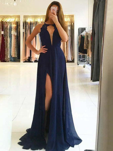 Sexy Prom Dresses Scoop A line Lace Simple Long Slit Prom Dress JKL839|Annapromdress