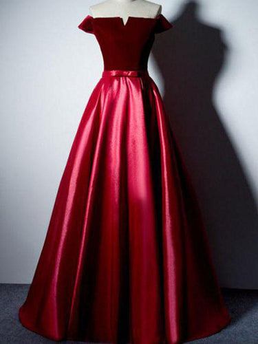 Chic Prom Dresses Off-the-shoulder Sexy Velvet Long A Line Prom Dress JKL842|Annapromdress