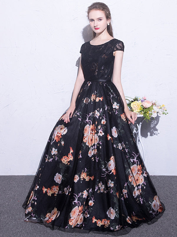 Black Prom Dresses Scoop A-line Floral Print Sexy Long Lace Prom Dress JKL844|Annapromdress