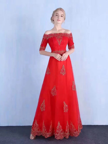 Red Prom Dresses Off-the-shoulder Floor-length Appliques Sexy Prom Dress JKL846|Annapromdress