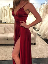 Burgundy Prom Dresses Spaghetti Straps Floor-length Slit Long Cheap Prom Dress JKL848|Annapromdress