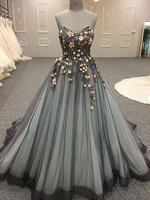 Ball Gown Prom Dresses Spaghetti Straps Lace Prom Dress Long Evening ...
