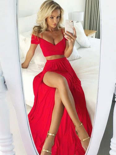 Two Piece Prom Dresses Off-the-shoulder A Line Long Slit Red Prom Dress JKL852|Annapromdress