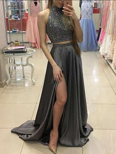 Two Piece Prom Dresses High Neck A-line Rhinestone Long Chic Prom Dress JKL855|Annapromdress
