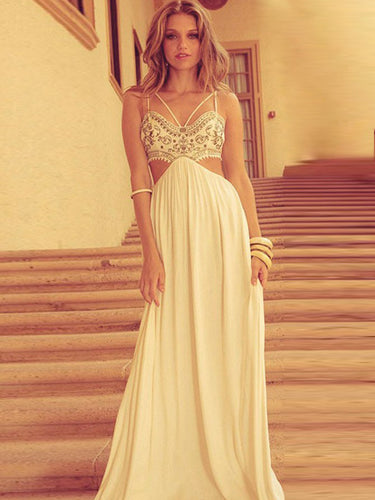 Simple Prom Dresses A Line Spaghetti Straps Embroidery Long Prom Dress JKL856|Annapromdress