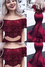 Two Piece Prom Dresses Mermaid Off-the-shoulder Lace Burgundy Prom Dress JKL857|Annapromdress