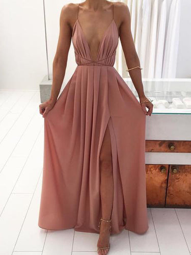 Cheap Prom Dresses Simple Sexy Long A Line Sexy Slit Prom Dress JKL860|Annapromdress