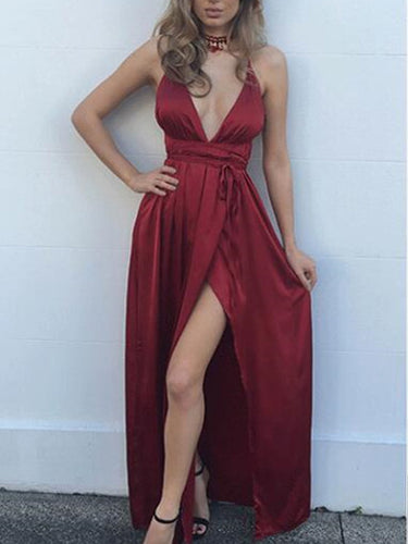 Burgundy Prom Dresses Spaghetti Straps Slit Long Cheap Prom Dress JKL861|Annapromdress