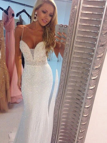 Sparkly Prom Dresses Spaghetti Straps Sheath Column Sequins Long Prom Dress JKL866|Annapromdress