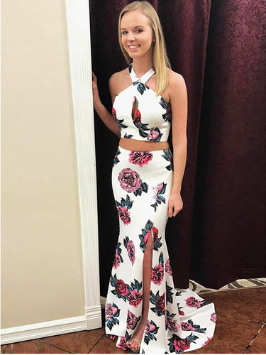 Two Piece Prom Dresses Halter Floral Print Long Mermaid Sexy Prom Dress JKL868|Annapromdress