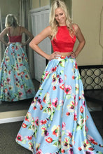 Two Piece Prom Dresses Bateau Floral Print Red Prom Dress Long Evening Dress JKL869|Annapromdress