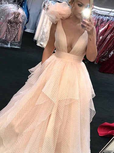 Beautiful Prom Dresses Straps A-line Floor-length Sparkly Long Prom Dress JKL871|Annapromdress