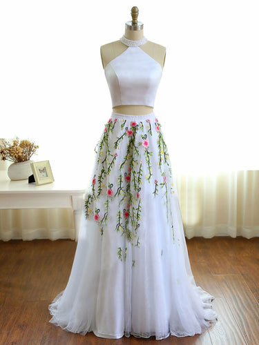 Two Piece Prom Dresses Aline High Neck Lace Embroidery White Long Prom Dress JKL872|Annapromdress