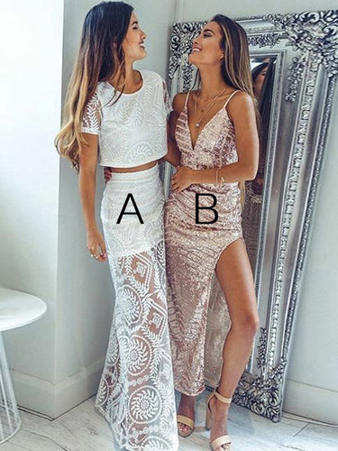 Two Piece Prom Dresses A-line Scoop Lace Long Chic Prom Dress JKL877|Annapromdress