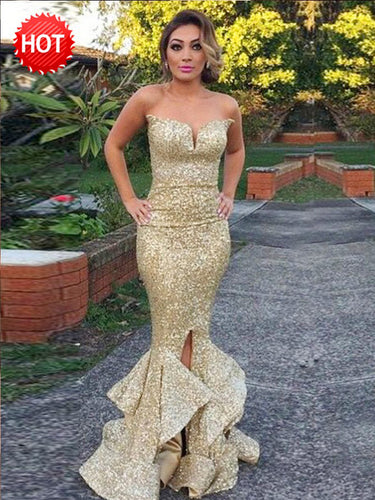 Luxury Prom Dresses Trumpet Mermaid Gold Sequins Slit Long Prom Dress JKL878|Annapromdress