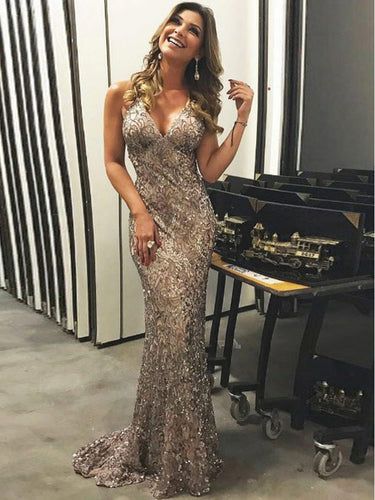Sparkly Prom Dresses Straps V Neck Short Train Long Luxury Prom Dress JKL879|Annapromdress