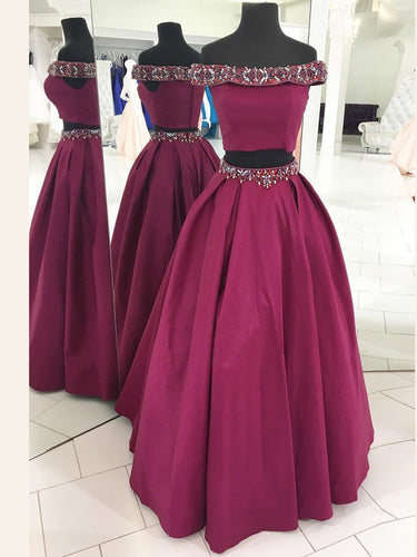 Two Piece Prom Dresses Off-the-shoulder A-line Long Sparkly Prom Dress JKL881|Annapromdress