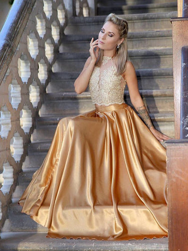 Two Piece Prom Dresses Halter Gold Aline Appliques Long Prom Dress JKL884|Annapromdress