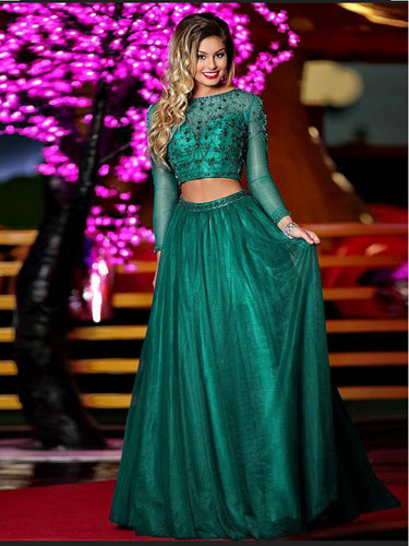 Two Piece Prom Dresses Bateau A-line Long Sleeve Prom Dress Sexy Evening Dress JKL885|Annapromdress