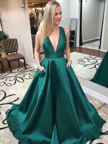 Simple Prom Dresses V-neck Bowknot Cheap Prom Dress Long Evening Dress JKL887|Annapromdress