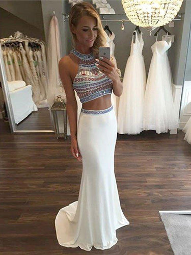 Two Piece Prom Dresses Halter Jersey Rhinestone Long Prom Dress JKL888|Annapromdress