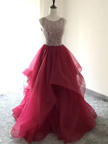 Burgundy Prom Dresses A Line Scoop Beading Organza Long Prom Dress JKL893|Annapromdress
