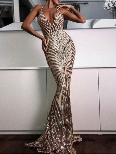 Luxury Prom Dresses Trumpet Mermaid Gold Halter Sparkly Long Prom Dress JKL896|Annapromdress