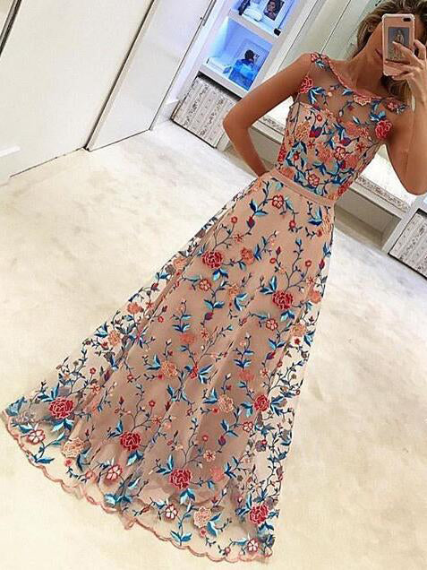 Beautiful Prom Dresses Scoop A-line Floor-length Floral Lace Prom Dress JKL899|Annapromdress