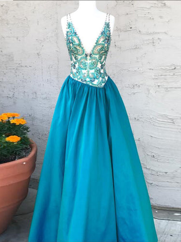 Sparkly Prom Dresses V-neck Straps A-line Long Beading Prom Dress JKL902|Annapromdress