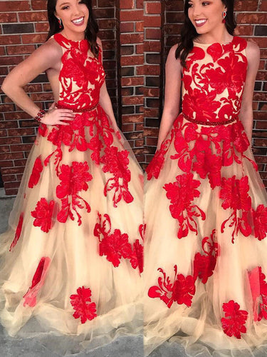Chic Prom Dresses Bateau Open Backless Red Appliques Prom Dress Long Evening Dress JKL905|Annapromdress